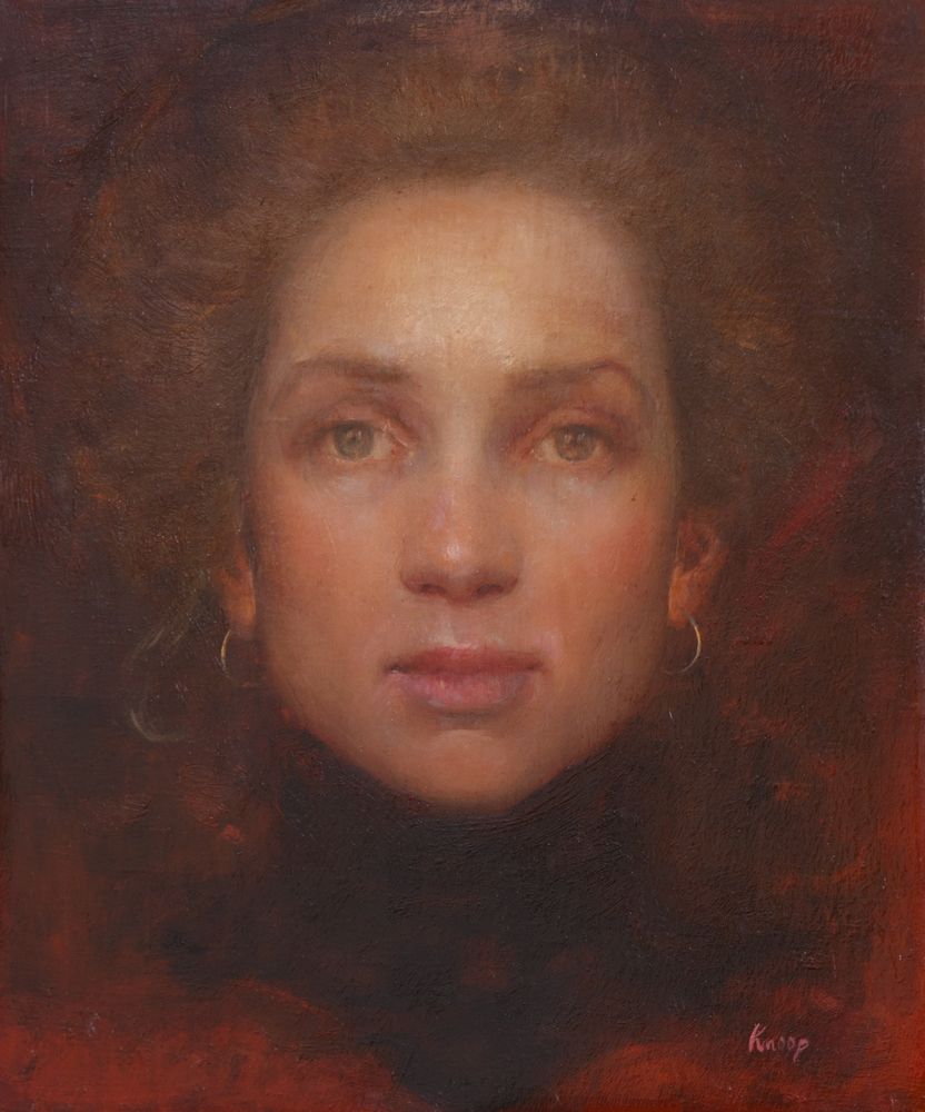 Selfportrait Scarlet, 2013. Oil on canvas, 30 x 25 cm.