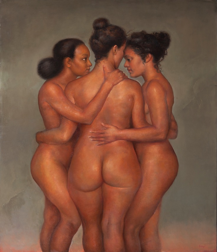 Three Graces, 2015. Oil on canvas, 140 x 120 cm.