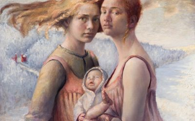 Two Women with a Baby, 2001. Oil on canvas, 60 x 60 cm.