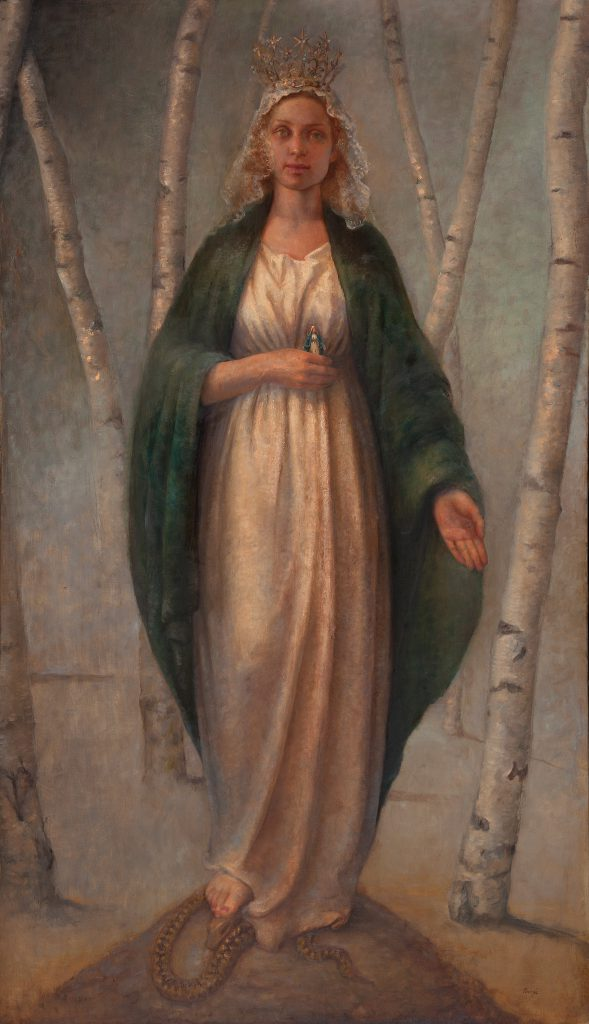 Madonna of the woods, 2016. Oil on canvas, 176 x 103 cm